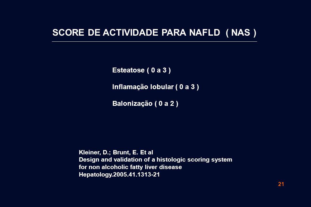 21 Esteatose ( 0 a 3 ) Inflamação lobular ( 0 a 3 ) Balonização ( 0 a 2 ) SCORE DE ACTIVIDADE PARA NAFLD ( NAS ) Kleiner, D.; Brunt, E.