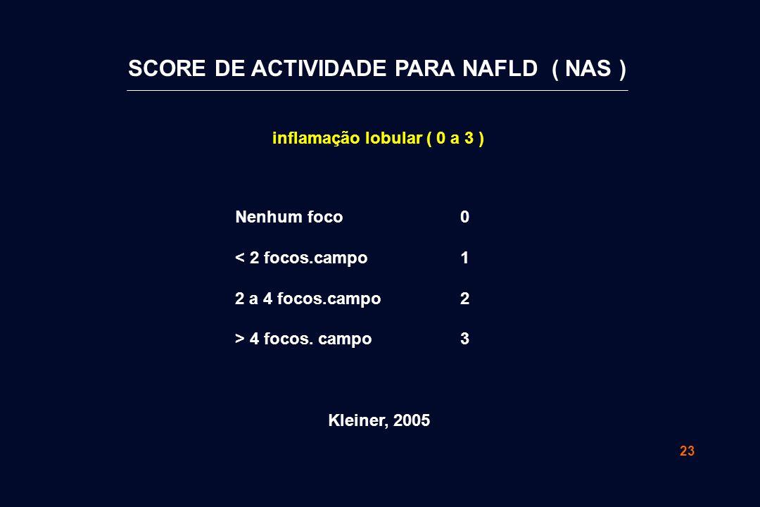 23 inflamação lobular ( 0 a 3 ) 01230123 Nenhum foco < 2 focos.campo 2 a 4 focos.campo > 4 focos. campo Kleiner, 2005 SCORE DE ACTIVIDADE PARA NAFLD (