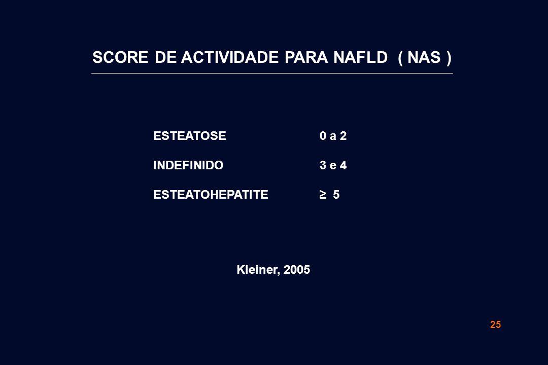 25 0 a 2 3 e 4 ≥ 5 ESTEATOSE INDEFINIDO ESTEATOHEPATITE Kleiner, 2005 SCORE DE ACTIVIDADE PARA NAFLD ( NAS )
