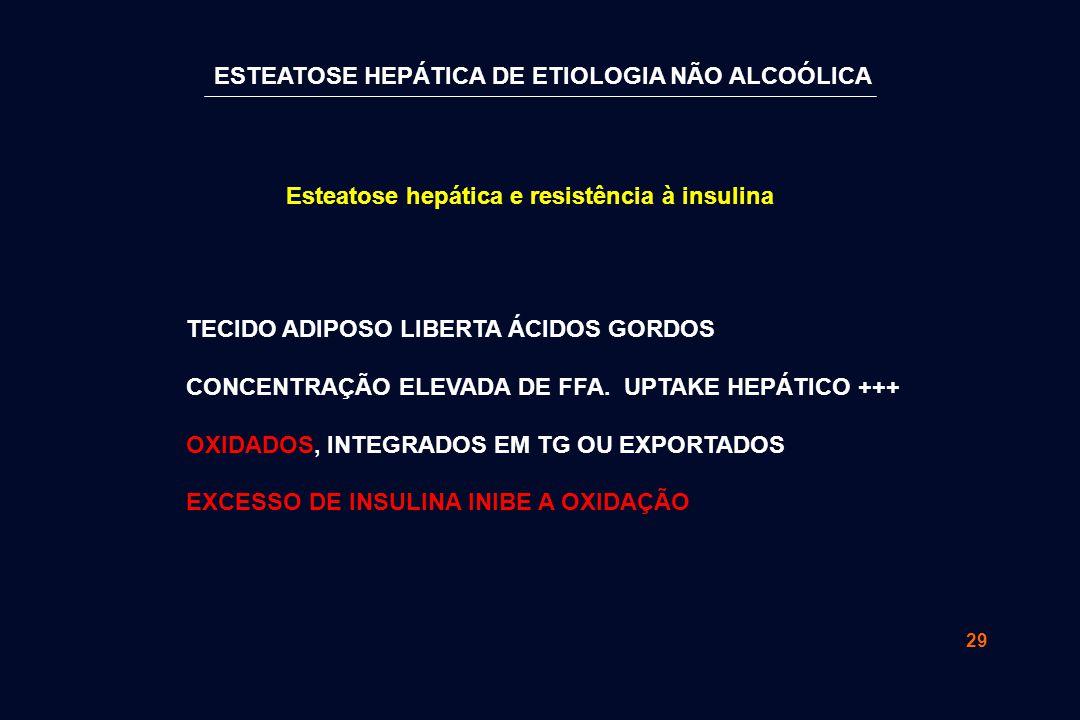 29 TECIDO ADIPOSO LIBERTA ÁCIDOS GORDOS CONCENTRAÇÃO ELEVADA DE FFA. UPTAKE HEPÁTICO +++ OXIDADOS, INTEGRADOS EM TG OU EXPORTADOS EXCESSO DE INSULINA