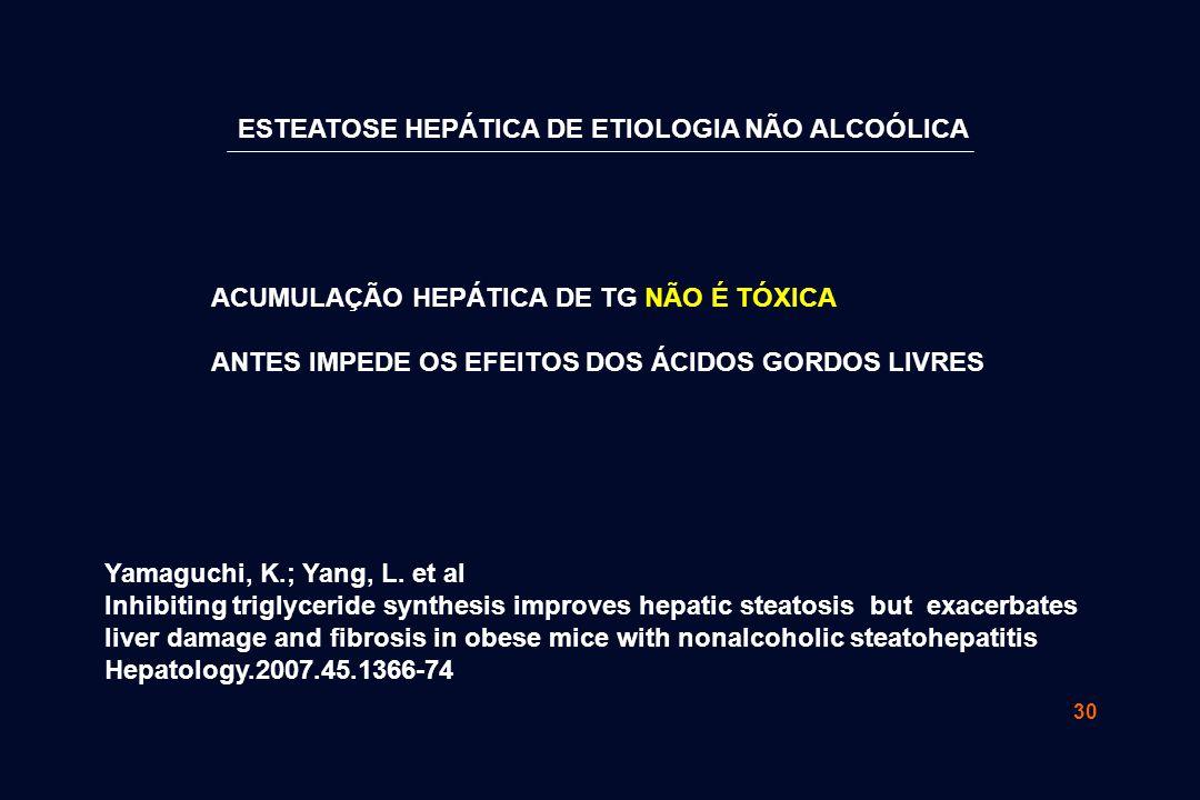 30 ACUMULAÇÃO HEPÁTICA DE TG NÃO É TÓXICA ANTES IMPEDE OS EFEITOS DOS ÁCIDOS GORDOS LIVRES Yamaguchi, K.; Yang, L. et al Inhibiting triglyceride synth