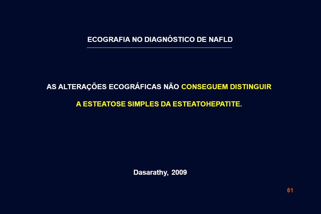 61 AS ALTERAÇÕES ECOGRÁFICAS NÃO CONSEGUEM DISTINGUIR A ESTEATOSE SIMPLES DA ESTEATOHEPATITE. Dasarathy, 2009 ECOGRAFIA NO DIAGNÓSTICO DE NAFLD