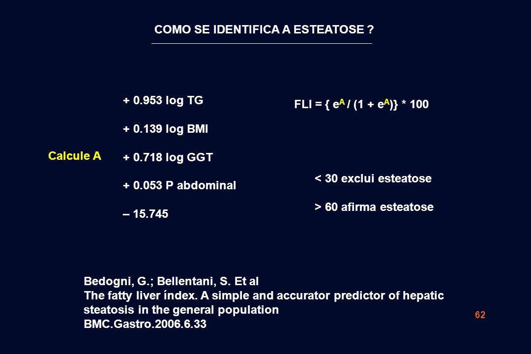62 Bedogni, G.; Bellentani, S. Et al The fatty liver índex. A simple and accurator predictor of hepatic steatosis in the general population BMC.Gastro