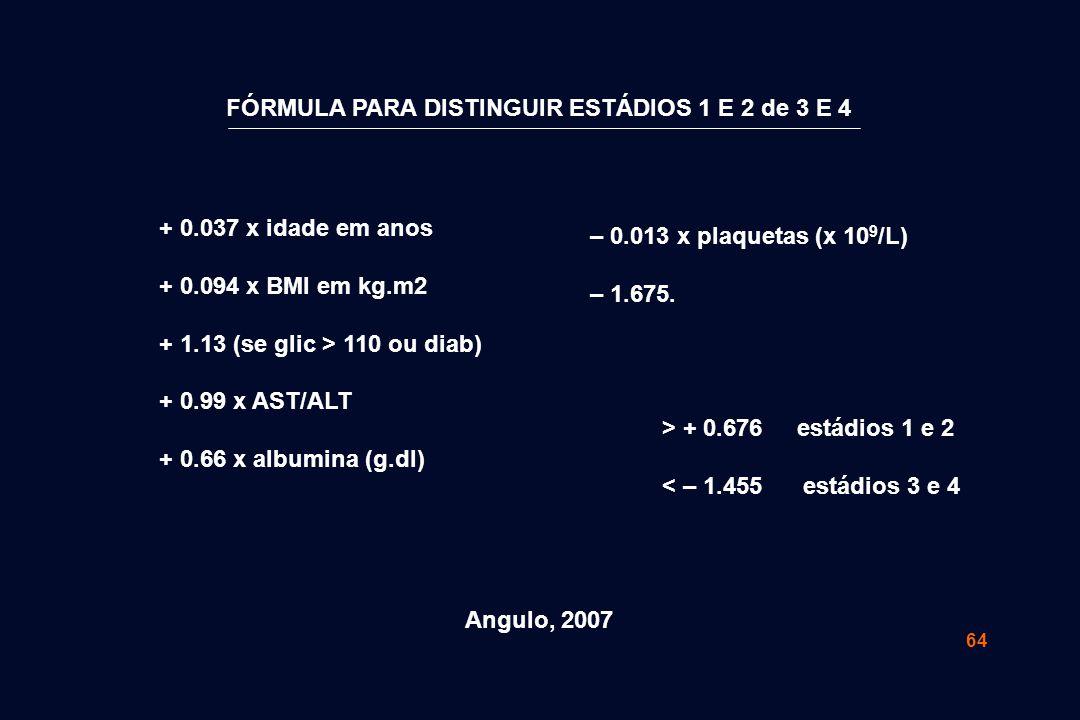 64 FÓRMULA PARA DISTINGUIR ESTÁDIOS 1 E 2 de 3 E 4 + 0.037 x idade em anos + 0.094 x BMI em kg.m2 + 1.13 (se glic > 110 ou diab) + 0.99 x AST/ALT + 0.66 x albumina (g.dl) – 0.013 x plaquetas (x 10 9 /L) – 1.675.