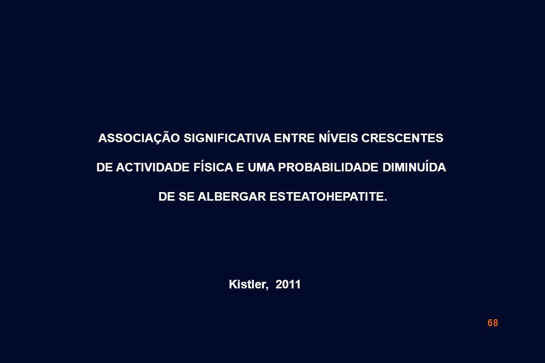 68 Kistler, 2011 ASSOCIAÇÃO SIGNIFICATIVA ENTRE NÍVEIS CRESCENTES DE ACTIVIDADE FÍSICA E UMA PROBABILIDADE DIMINUÍDA DE SE ALBERGAR ESTEATOHEPATITE.
