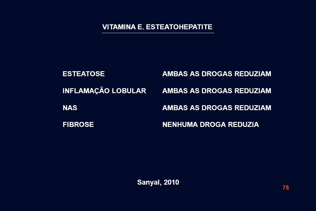 76 ESTEATOSE INFLAMAÇÃO LOBULAR NAS FIBROSE AMBAS AS DROGAS REDUZIAM NENHUMA DROGA REDUZIA Sanyal, 2010 VITAMINA E. ESTEATOHEPATITE