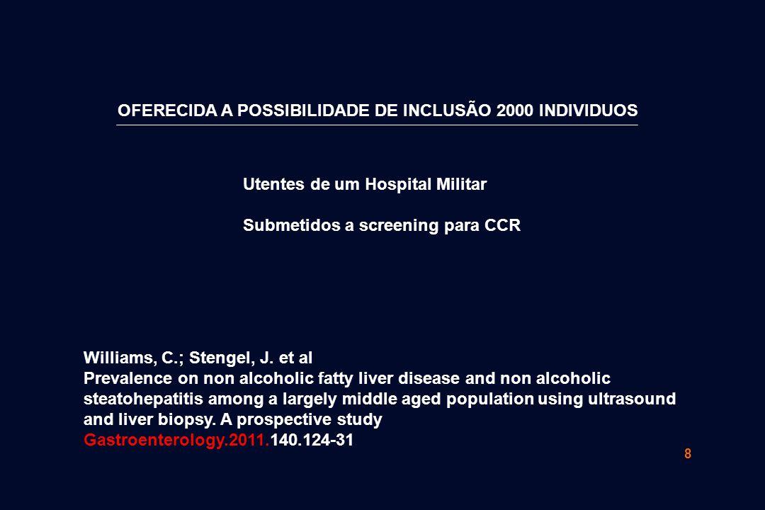 8 OFERECIDA A POSSIBILIDADE DE INCLUSÃO 2000 INDIVIDUOS Utentes de um Hospital Militar Submetidos a screening para CCR Williams, C.; Stengel, J. et al