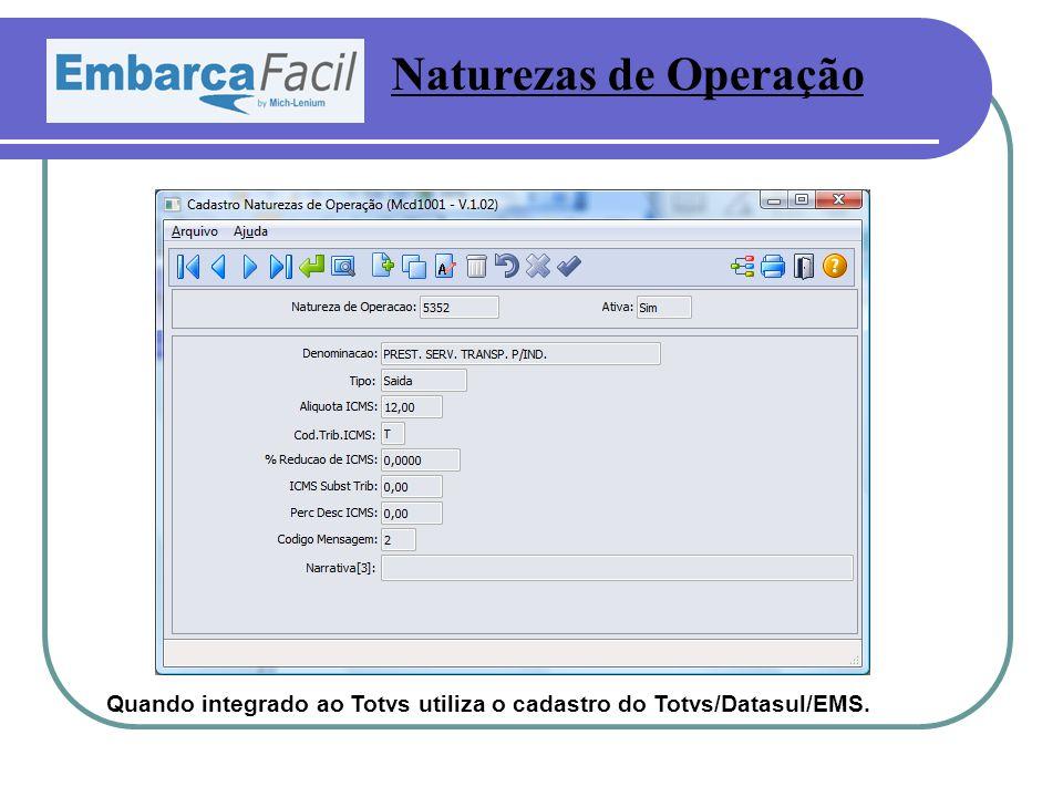 Naturezas de Operação Quando integrado ao Totvs utiliza o cadastro do Totvs/Datasul/EMS.