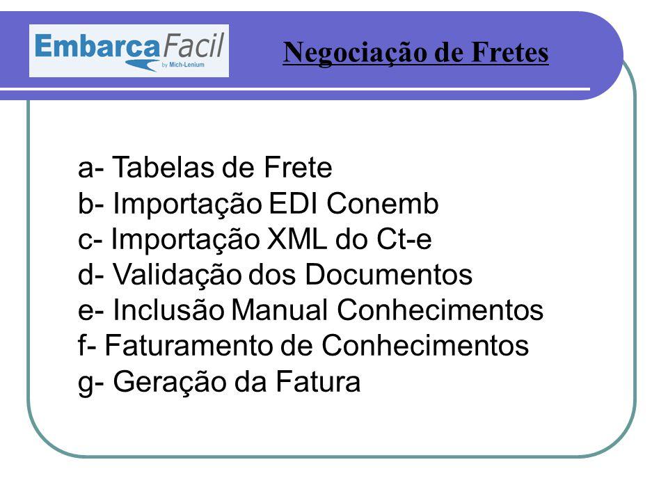 a- Tabelas de Frete b- Importação EDI Conemb c- Importação XML do Ct-e d- Validação dos Documentos e- Inclusão Manual Conhecimentos f- Faturamento de Conhecimentos g- Geração da Fatura Negociação de Fretes