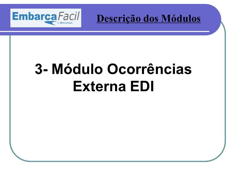3- Módulo Ocorrências Externa EDI Descrição dos Módulos