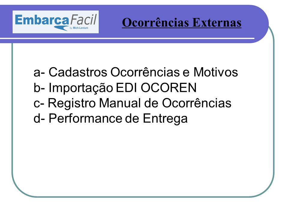 a- Cadastros Ocorrências e Motivos b- Importação EDI OCOREN c- Registro Manual de Ocorrências d- Performance de Entrega Ocorrências Externas