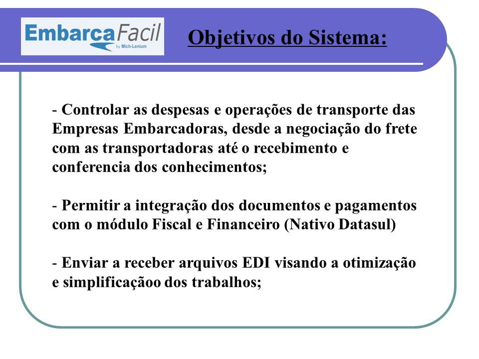 Objetivos do Sistema: - Controlar as despesas e operações de transporte das Empresas Embarcadoras, desde a negociação do frete com as transportadoras
