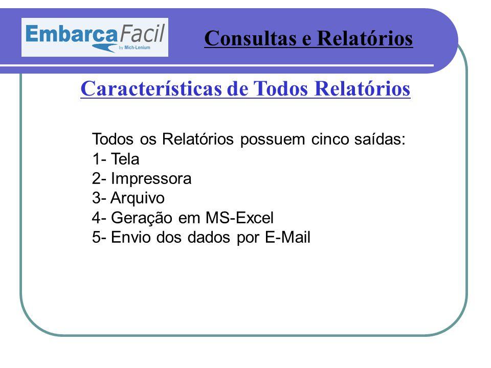 Consultas e Relatórios Características de Todos Relatórios Todos os Relatórios possuem cinco saídas: 1- Tela 2- Impressora 3- Arquivo 4- Geração em MS-Excel 5- Envio dos dados por E-Mail