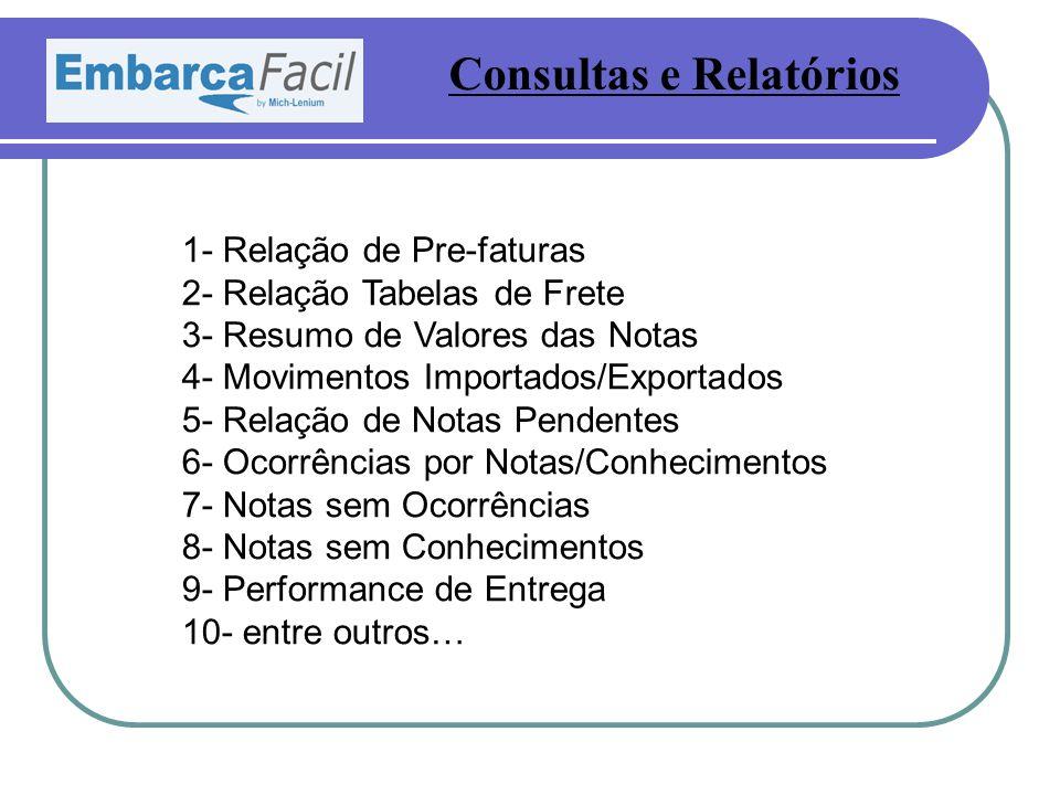 Consultas e Relatórios 1- Relação de Pre-faturas 2- Relação Tabelas de Frete 3- Resumo de Valores das Notas 4- Movimentos Importados/Exportados 5- Rel