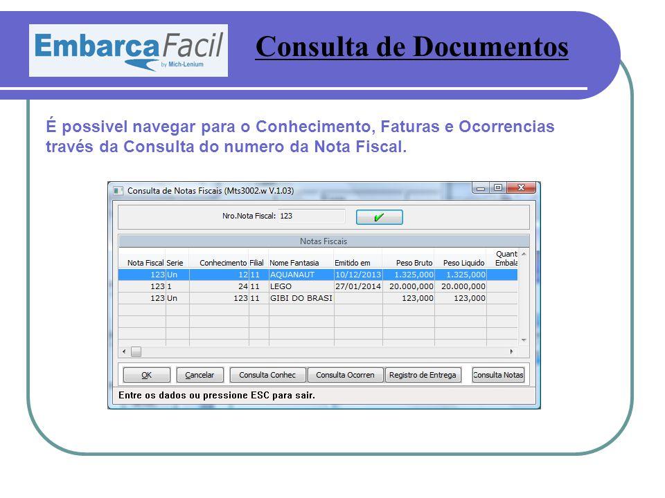 Consulta de Documentos É possivel navegar para o Conhecimento, Faturas e Ocorrencias través da Consulta do numero da Nota Fiscal.