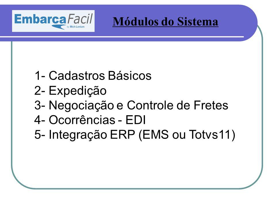 1- Cadastros Básicos 2- Expedição 3- Negociação e Controle de Fretes 4- Ocorrências - EDI 5- Integração ERP (EMS ou Totvs11) Módulos do Sistema
