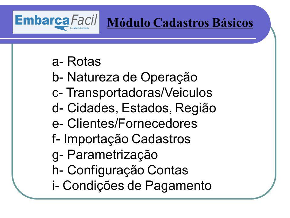 a- Rotas b- Natureza de Operação c- Transportadoras/Veiculos d- Cidades, Estados, Região e- Clientes/Fornecedores f- Importação Cadastros g- Parametrização h- Configuração Contas i- Condições de Pagamento Módulo Cadastros Básicos