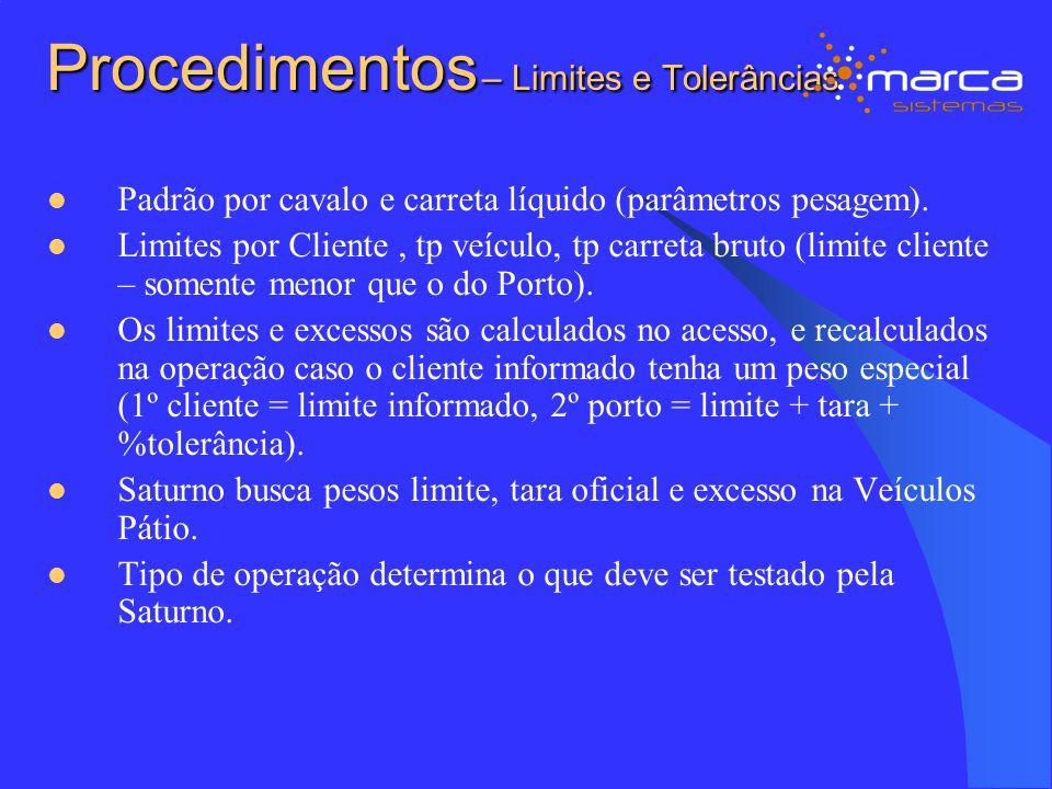 Procedimentos – Limites e Tolerâncias Padrão por cavalo e carreta líquido (parâmetros pesagem). Limites por Cliente, tp veículo, tp carreta bruto (lim