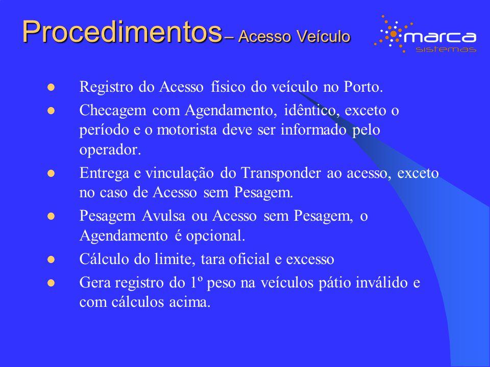 Procedimentos – Acesso Veículo Registro do Acesso físico do veículo no Porto. Checagem com Agendamento, idêntico, exceto o período e o motorista deve