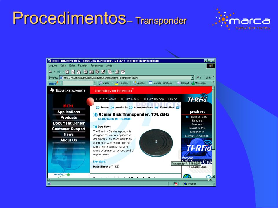 Procedimentos – Transponder