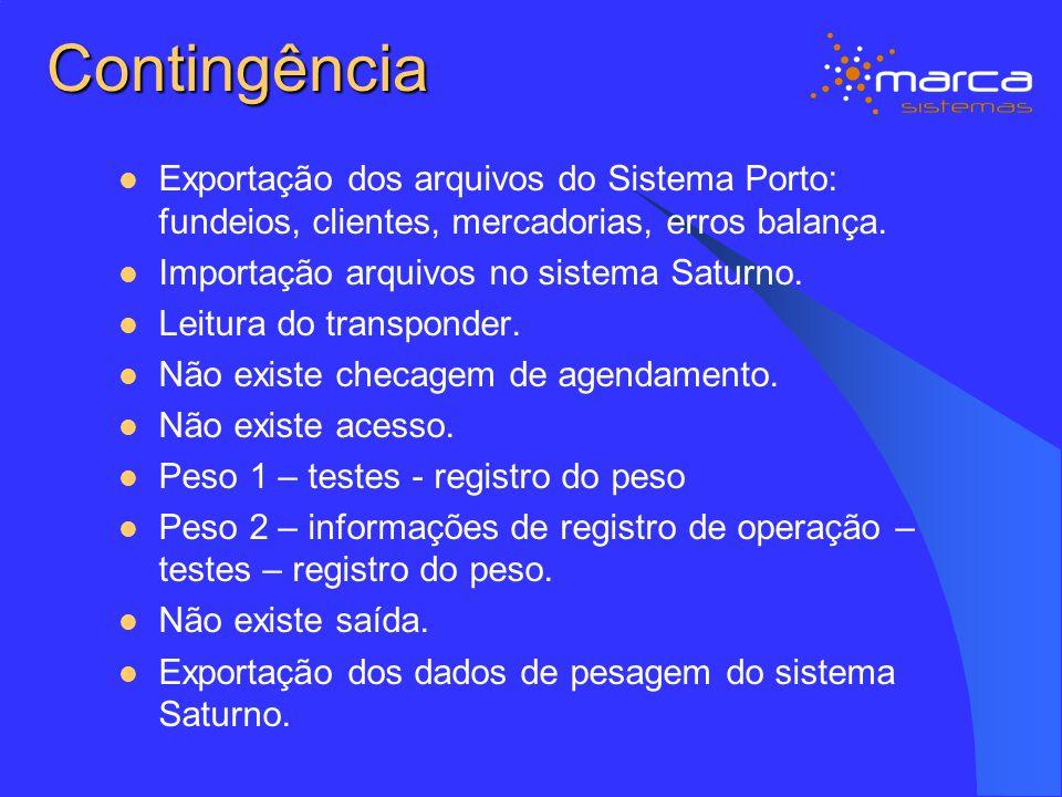 Contingência Exportação dos arquivos do Sistema Porto: fundeios, clientes, mercadorias, erros balança. Importação arquivos no sistema Saturno. Leitura