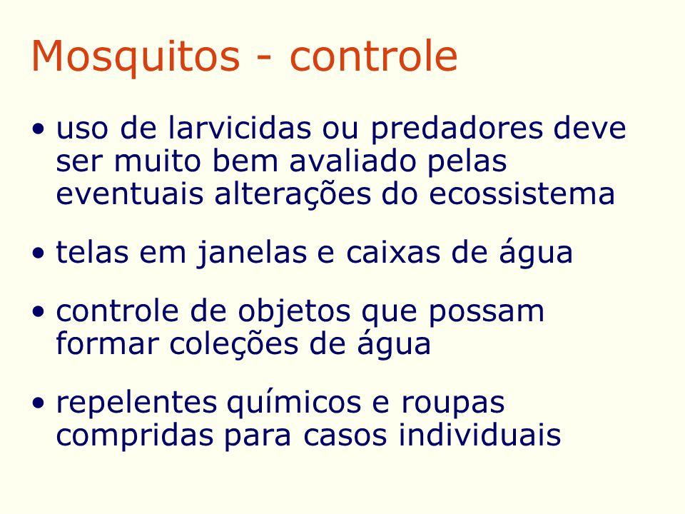 Mosquitos - controle uso de larvicidas ou predadores deve ser muito bem avaliado pelas eventuais alterações do ecossistema telas em janelas e caixas de água controle de objetos que possam formar coleções de água repelentes químicos e roupas compridas para casos individuais