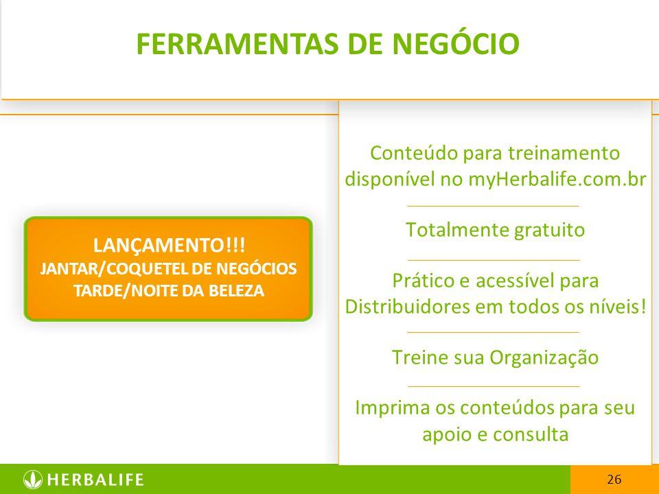26 Conteúdo para treinamento disponível no myHerbalife.com.br Totalmente gratuito Prático e acessível para Distribuidores em todos os níveis! Treine s