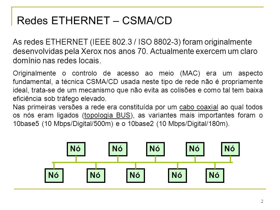2 Redes ETHERNET – CSMA/CD As redes ETHERNET (IEEE 802.3 / ISO 8802-3) foram originalmente desenvolvidas pela Xerox nos anos 70. Actualmente exercem u