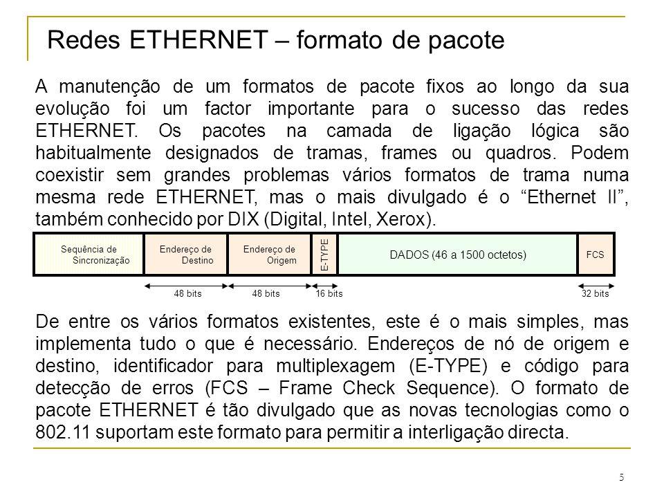 5 Redes ETHERNET – formato de pacote A manutenção de um formatos de pacote fixos ao longo da sua evolução foi um factor importante para o sucesso das