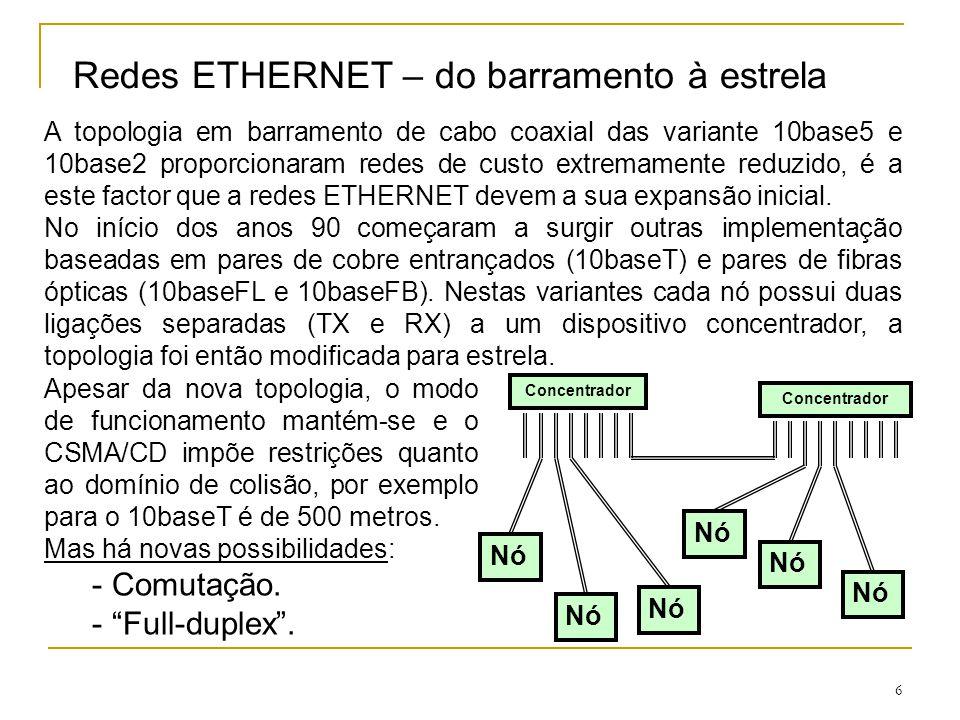 7 Redes ETHERNET – comutação de tramas A topologia em estrela veio abrir nova possibilidades, pois ao existirem ligações separadas TX e RX para cada nó da rede torna-se possível modificar radicalmente o modo de funcionamento destas redes.