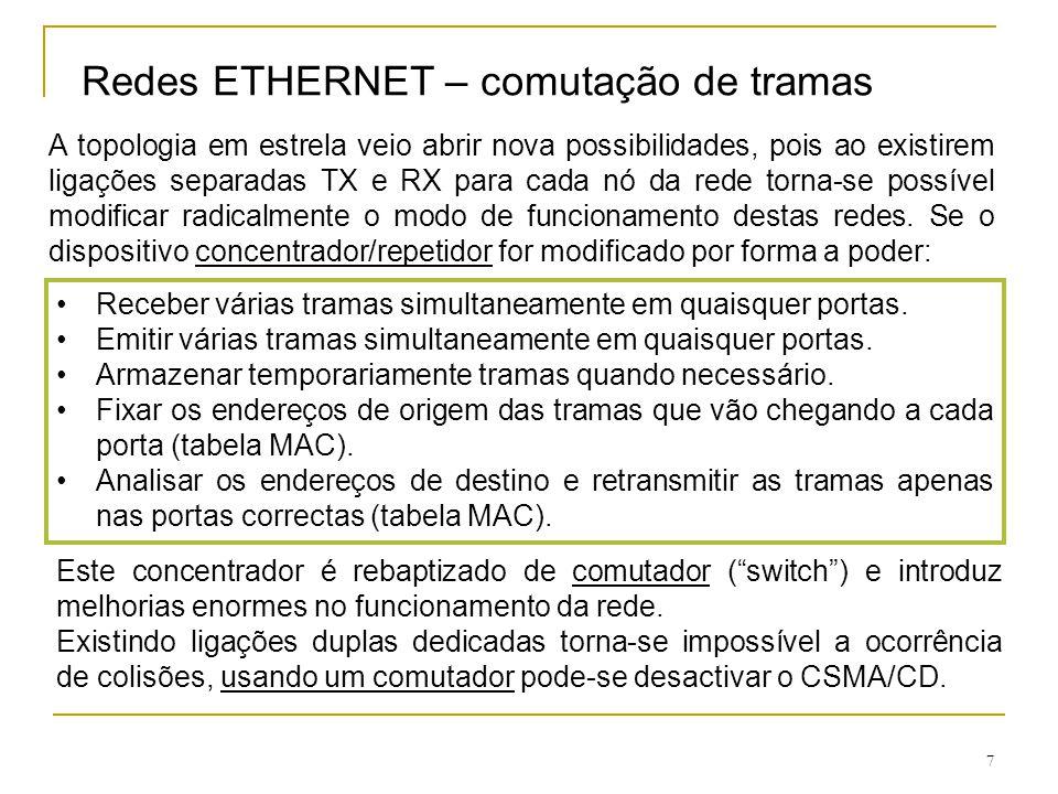 7 Redes ETHERNET – comutação de tramas A topologia em estrela veio abrir nova possibilidades, pois ao existirem ligações separadas TX e RX para cada n