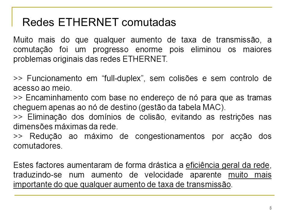 8 Redes ETHERNET comutadas Muito mais do que qualquer aumento de taxa de transmissão, a comutação foi um progresso enorme pois eliminou os maiores pro