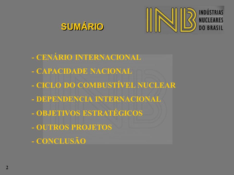 - CENÁRIO INTERNACIONAL - CAPACIDADE NACIONAL - CICLO DO COMBUSTÍVEL NUCLEAR - DEPENDENCIA INTERNACIONAL - OBJETIVOS ESTRATÉGICOS - OUTROS PROJETOS -