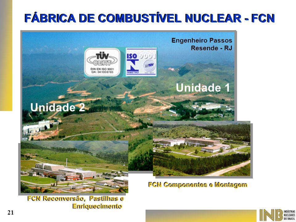 FÁBRICA DE COMBUSTÍVEL NUCLEAR - FCN FCN Componentes e Montagem FCN Reconversão, Pastilhas e Enriquecimento FCN Reconversão, Pastilhas e Enriqueciment