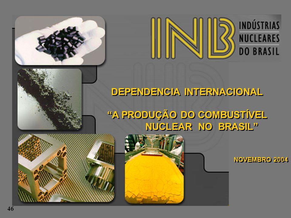 """DEPENDENCIA INTERNACIONAL """"A PRODUÇÃO DO COMBUSTÍVEL NUCLEAR NO BRASIL"""" NOVEMBRO 2004 DEPENDENCIA INTERNACIONAL """"A PRODUÇÃO DO COMBUSTÍVEL NUCLEAR NO"""