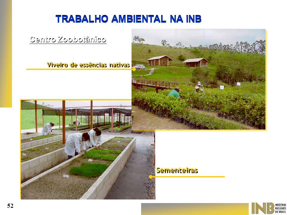 TRABALHO AMBIENTAL NA INB Viveiro de essências nativas Viveiro de essências nativas Sementeiras Centro Zoobotânico 52