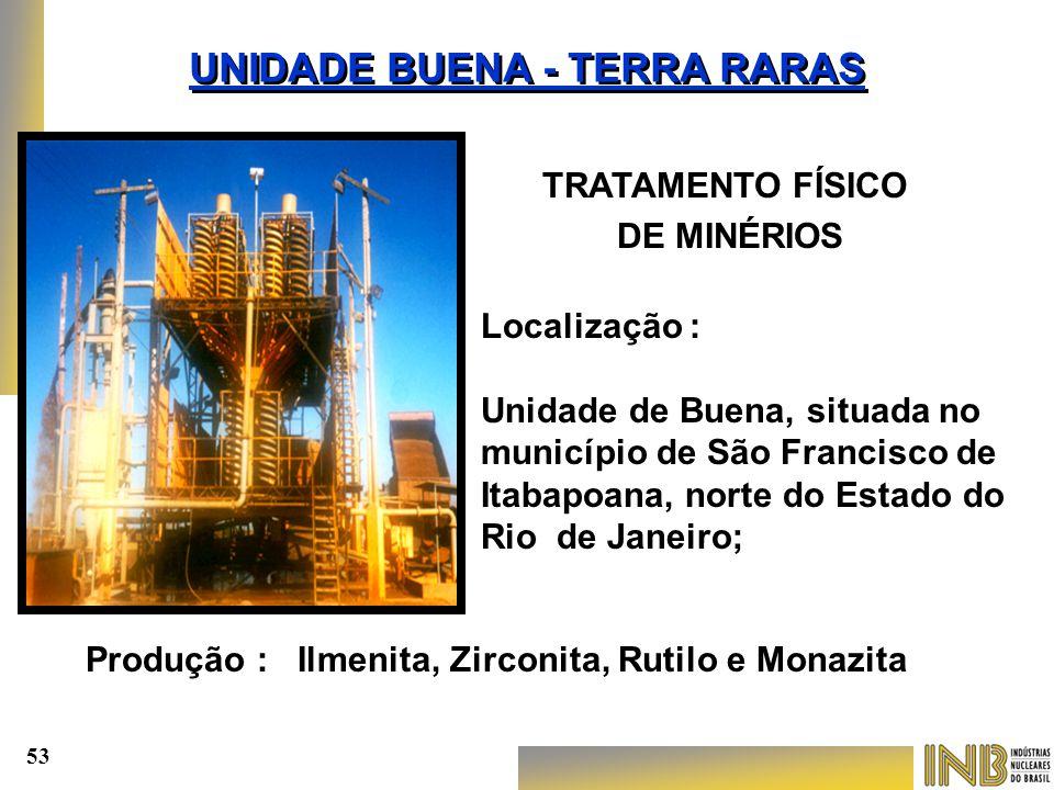 Localização : Unidade de Buena, situada no município de São Francisco de Itabapoana, norte do Estado do Rio de Janeiro; TRATAMENTO FÍSICO DE MINÉRIOS