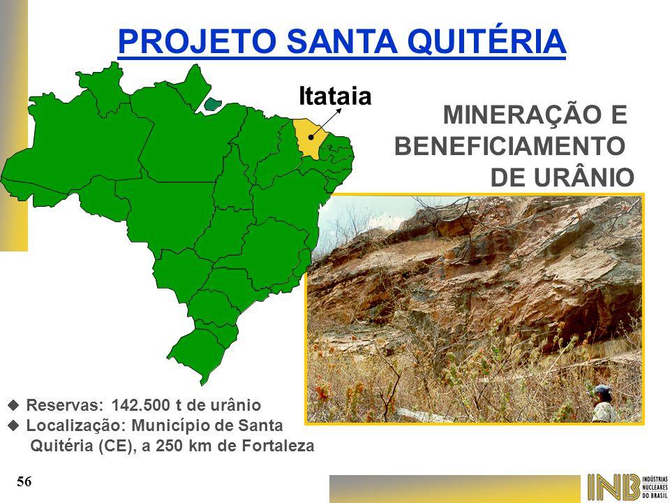 MINERAÇÃO E BENEFICIAMENTO DE URÂNIO PROJETO SANTA QUITÉRIA Itataia   Reservas: 142.500 t de urânio   Localização: Município de Santa Quitéria (CE