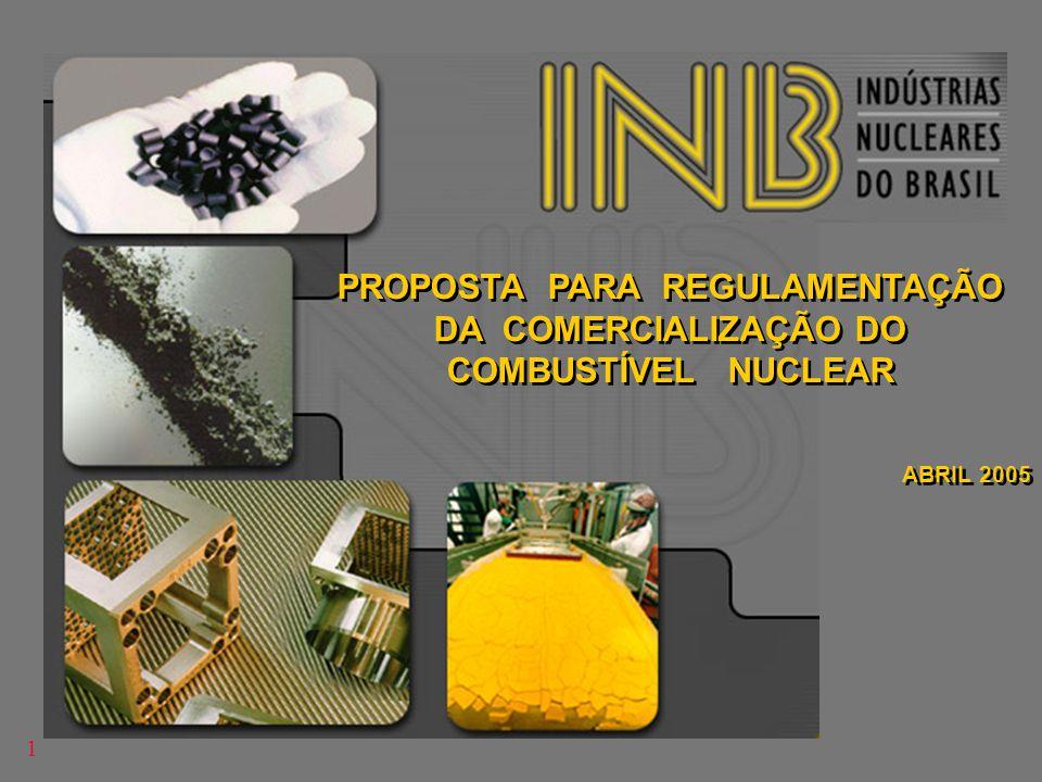 PROPOSTA PARA REGULAMENTAÇÃO DA COMERCIALIZAÇÃO DO COMBUSTÍVEL NUCLEAR ABRIL 2005 PROPOSTA PARA REGULAMENTAÇÃO DA COMERCIALIZAÇÃO DO COMBUSTÍVEL NUCLE