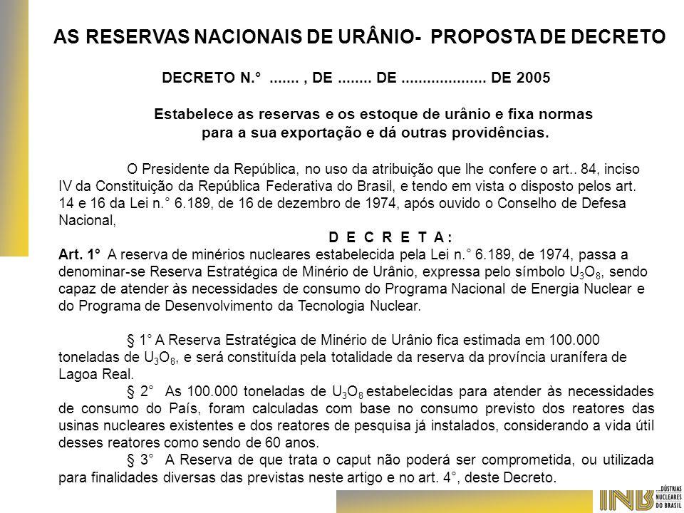 AS RESERVAS NACIONAIS DE URÂNIO- PROPOSTA DE DECRETO DECRETO N.°......., DE........ DE.................... DE 2005 Estabelece as reservas e os estoque