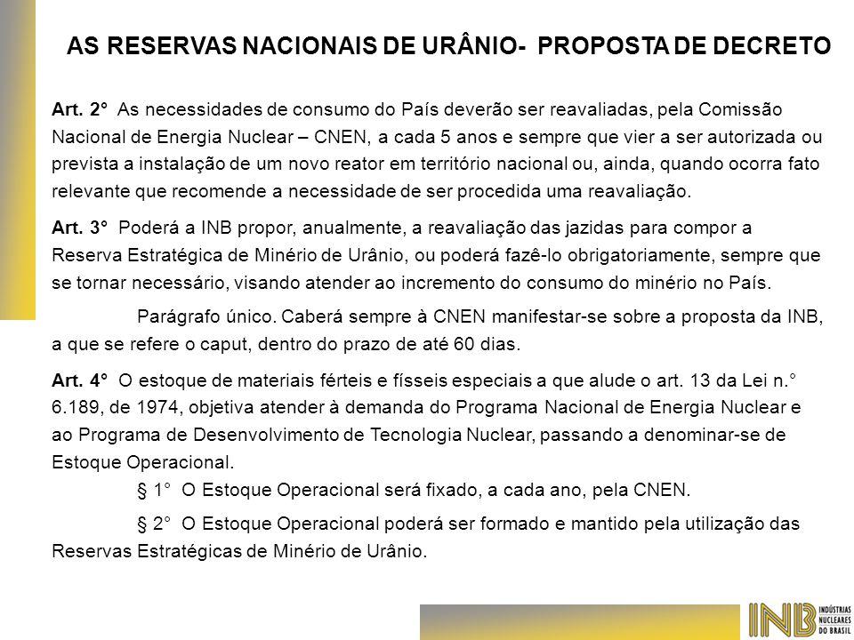 AS RESERVAS NACIONAIS DE URÂNIO- PROPOSTA DE DECRETO Art. 2° As necessidades de consumo do País deverão ser reavaliadas, pela Comissão Nacional de Ene