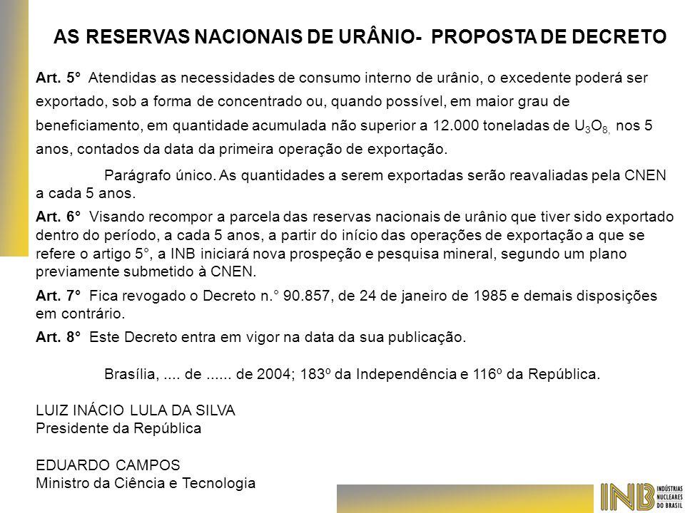Art. 5° Atendidas as necessidades de consumo interno de urânio, o excedente poderá ser exportado, sob a forma de concentrado ou, quando possível, em m