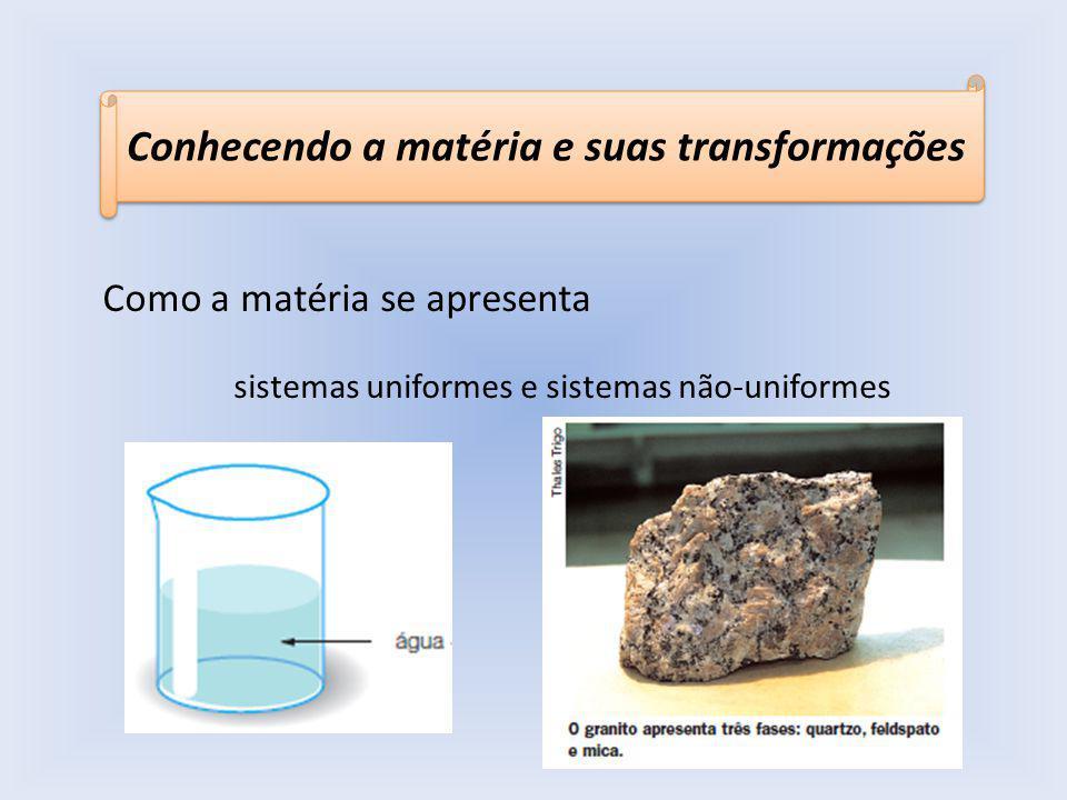 Conhecendo a matéria e suas transformações Como a matéria se apresenta sistemas uniformes e sistemas não-uniformes