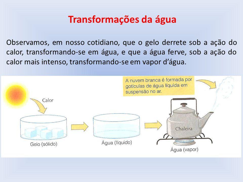 Transformações da água Observamos, em nosso cotidiano, que o gelo derrete sob a ação do calor, transformando-se em água, e que a água ferve, sob a ação do calor mais intenso, transformando-se em vapor d'água.