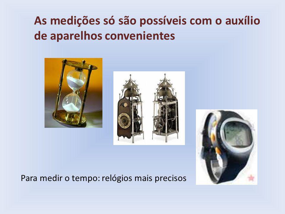 As medições só são possíveis com o auxílio de aparelhos convenientes Para medir o tempo: relógios mais precisos