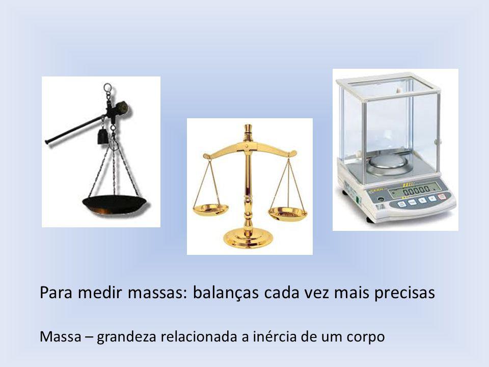 Para medir massas: balanças cada vez mais precisas Massa – grandeza relacionada a inércia de um corpo