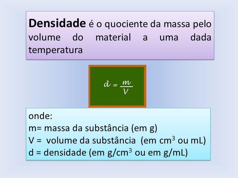 Densidade é o quociente da massa pelo volume do material a uma dada temperatura onde: m= massa da substância (em g) V = volume da substância (em cm 3 ou mL) d = densidade (em g/cm 3 ou em g/mL) onde: m= massa da substância (em g) V = volume da substância (em cm 3 ou mL) d = densidade (em g/cm 3 ou em g/mL)