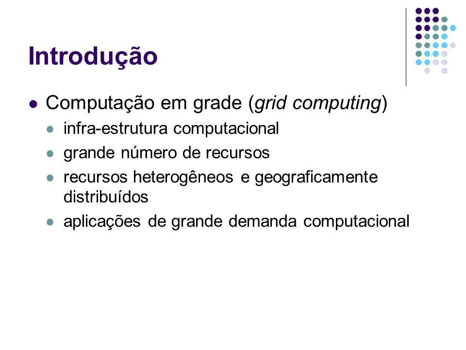 Introdução Computação em grade (grid computing) infra-estrutura computacional grande número de recursos recursos heterogêneos e geograficamente distribuídos aplicações de grande demanda computacional