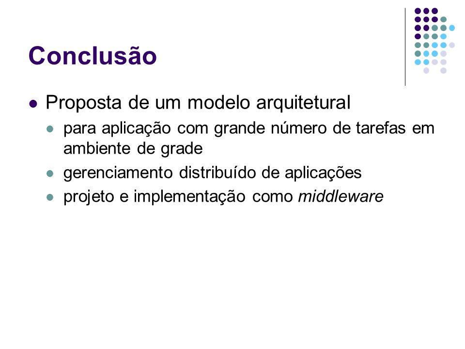 Conclusão Proposta de um modelo arquitetural para aplicação com grande número de tarefas em ambiente de grade gerenciamento distribuído de aplicações projeto e implementação como middleware