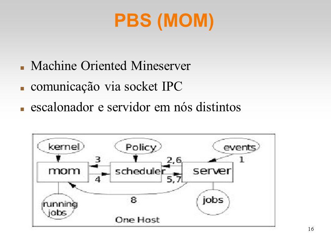 16 PBS (MOM) Machine Oriented Mineserver comunicação via socket IPC escalonador e servidor em nós distintos
